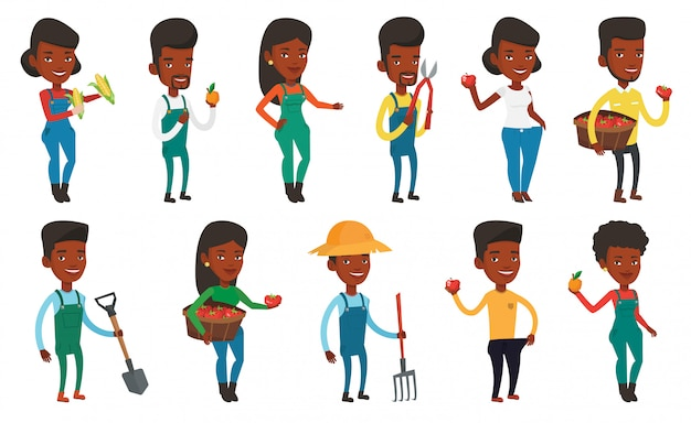Set van agrarische illustraties met boeren.