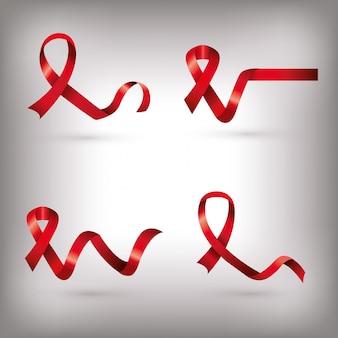 Set van aids dag bewustzijn linten geïsoleerd