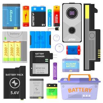 Set van alkalische batterij en accu.
