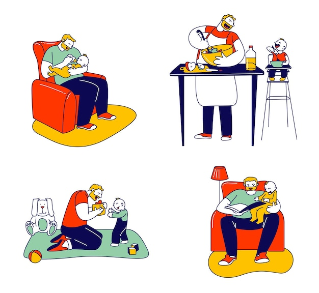 Set van alleenstaande vader die zich bezighoudt met het opvoeden van kind. cartoon vlakke afbeelding