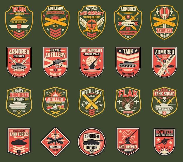 Set van amerikaanse militaire punthaken iconen