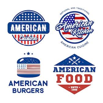 Set van amerikaanse retro logo's