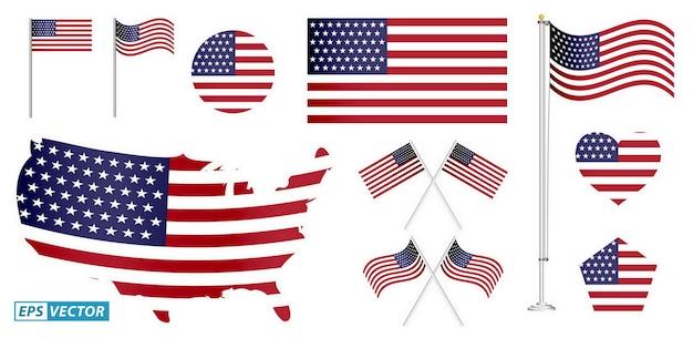 Set van amerikaanse vlag illustraties geïsoleerde eps vector