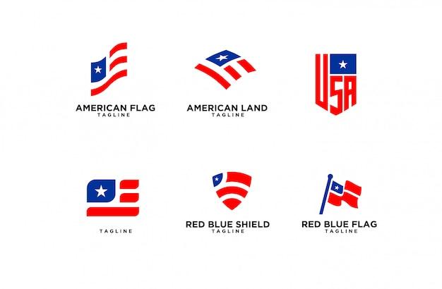Set van amerikaanse vlag logo