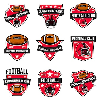 Set van amerikaanse voetbal emblemen. element voor logo, etiket, teken, poster, menu. illustratie