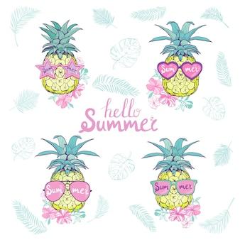 Set van ananassen