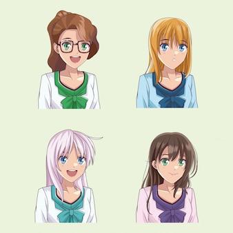 Set van anime jonge vrouwen profiel