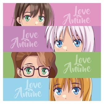 Set van anime jonge vrouwen