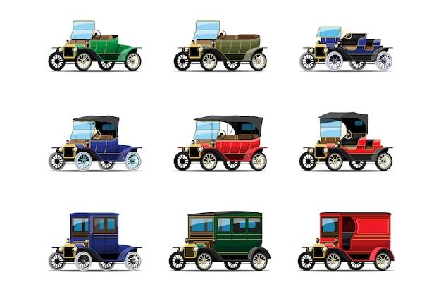 Set van antieke auto of oude vintage auto-ontwerp op wit