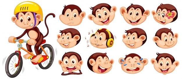 Set van apen met verschillende gezichtsuitdrukkingen