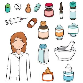 Set van apotheker en medicijnen