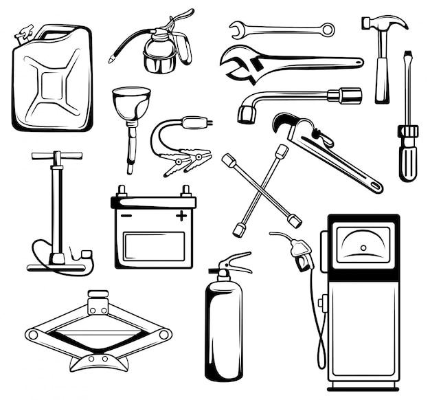 Set van apparatuur voor het repareren van een auto. inzameling voor technische inspectie van voertuigen.