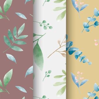 Set van aquarel blad patronen vector