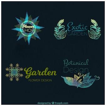 Set van aquarel bloemen logos