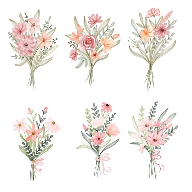 Set van aquarel bloemenboeket