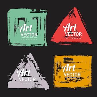 Set van aquarel borstel vorm banner