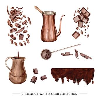 Set van aquarel chocolade
