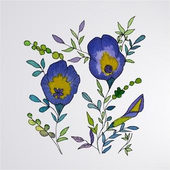 Set van aquarel en bloem en bladeren