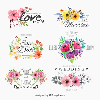 Set van aquarel floweryfor bruiloft
