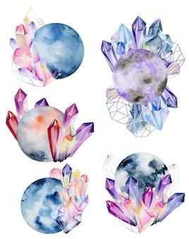 Set van aquarel geïsoleerde volle maan en kristallen