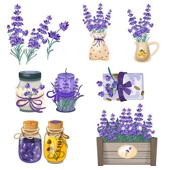Set van aquarel lavendel geïsoleerd op wit