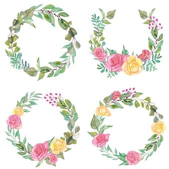 Set van aquarel rose roze en gele bloemen krans