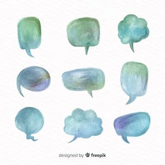Set van aquarel tekstballonnen