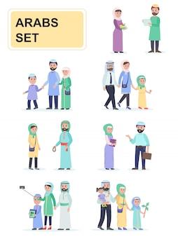 Set van arabieren in nationale klederdracht.