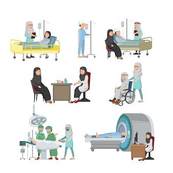 Set van arabische arts en patiënt illustratie medische behandeling op ziekenhuis