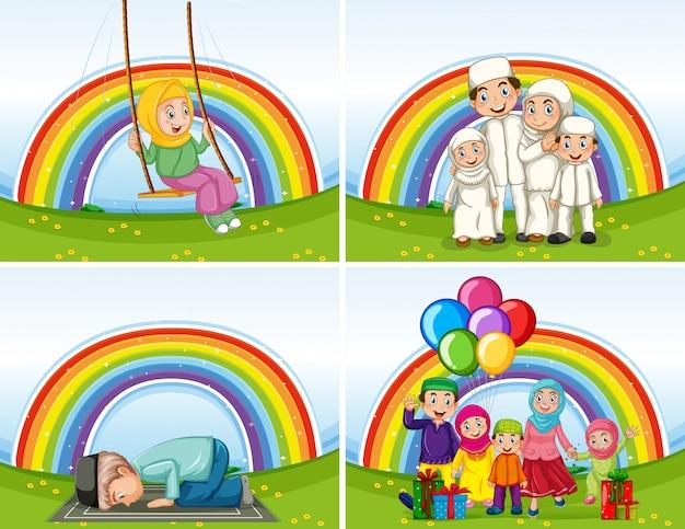 Set van arabische gezinnen in traditionele kleding op regenboog achtergrond