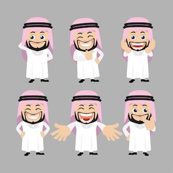 Set van arabische karakters in verschillende poses