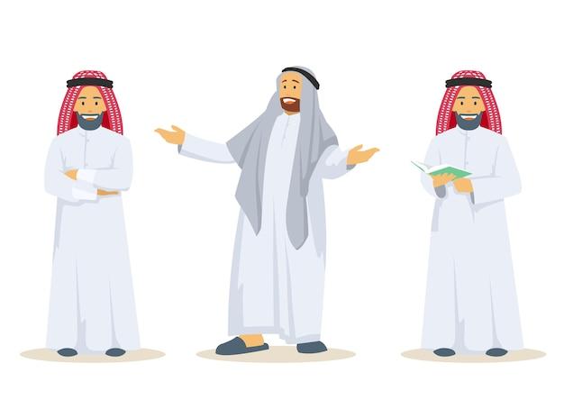 Set van arabische kerel die traditionele kleding draagt