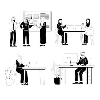 Set van arabische zakenman en vrouw werken vlakke afbeelding
