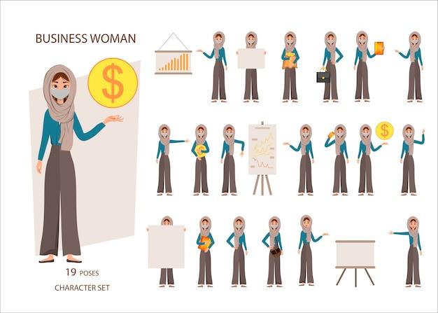 Set van arabische zakenvrouwen met gezichtsmasker omringd door kleurrijke bedrijfspictogrammen. nieuw coronavirus. cartoon-stijl. vector illustratie.