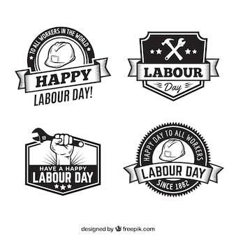 Set van arbeid dag badges in vintage stijl