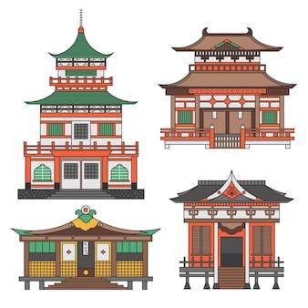 Set van architectonische japanse tempel