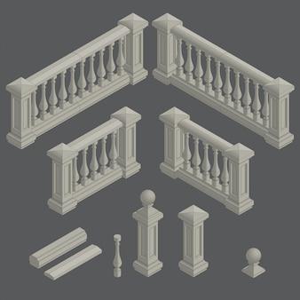 Set van architecturale element balustrade