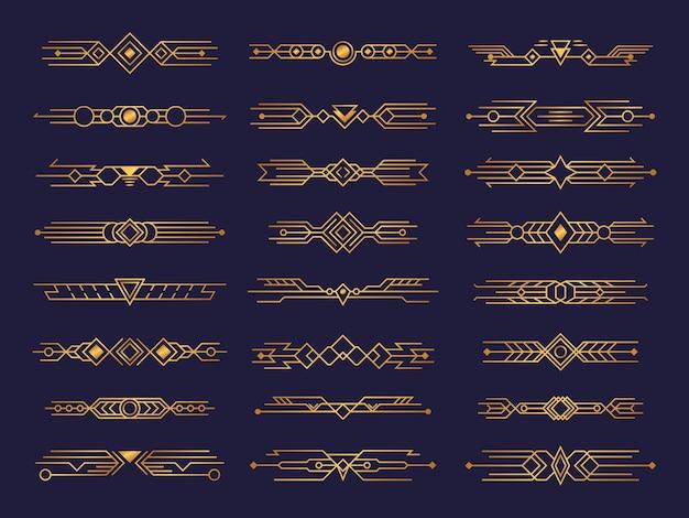 Set van art deco. abstracte composities, headers en tabbladen in de stijl van kranten en schilderijen.