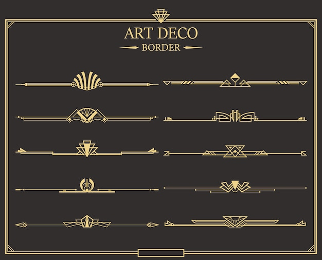 Set van art deco gouden kalligrafische pagina scheidingslijnen.
