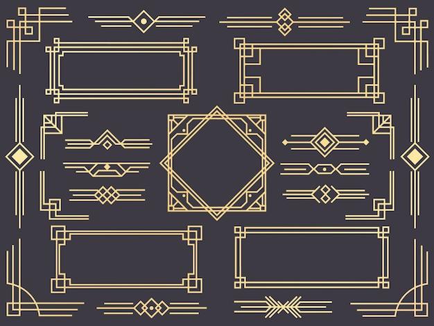 Set van art deco lijnrand, gouden ornamenten, scheidingslijnen en frames in gatsby-stijl