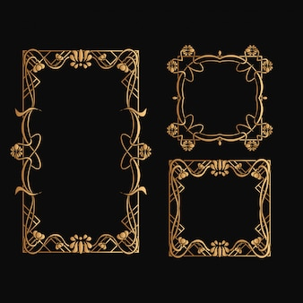 Set van art nouveau frame