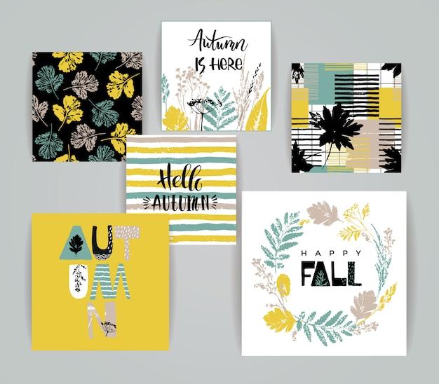 Set van artistieke creatieve herfst kaarten.