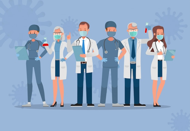 Set van arts dragen medische masker. coronavirus quarantaine concept characterdesign