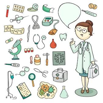 Set van arts en laboratoriumapparatuur