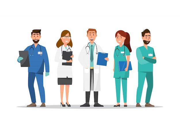 Set van arts en verpleegkundige stripfiguren
