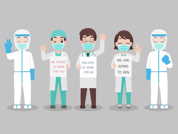 Set van arts in persoonlijk beschermend pak draag een chirurgisch beschermend medisch masker om virus te voorkomen