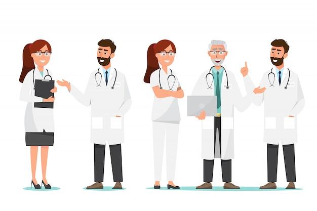 Set van arts stripfiguren. medisch personeel team concept in het ziekenhuis.