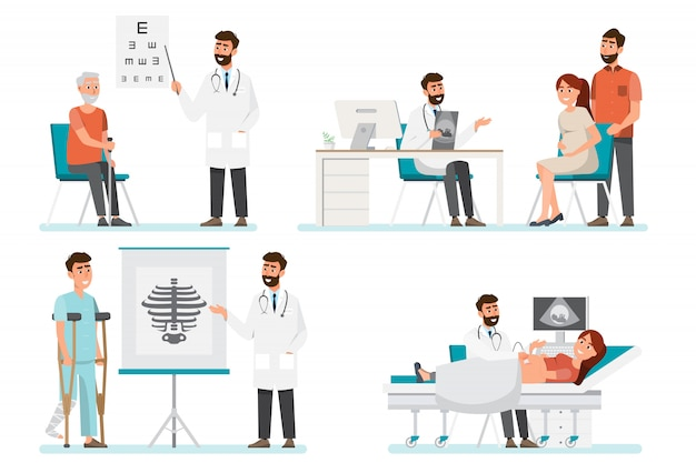 Set van arts stripfiguren. medisch personeelsteam in het ziekenhuis.