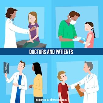 Set van artsen met patiënten