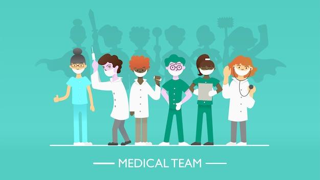 Set van artsen tekens met superheld schaduw. medisch gezichtsmasker, hero cloaks. stop coronavirus covid-19 сoncept. vlakke afbeelding.
